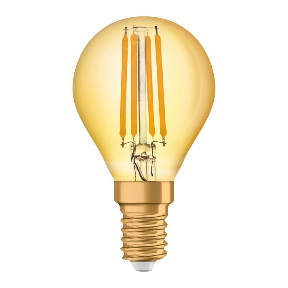 Osram Vintage 1906 LED Classic E14 P 4W 825 con Filamento Oro | Luz muy Cálida - Reemplazo 35W