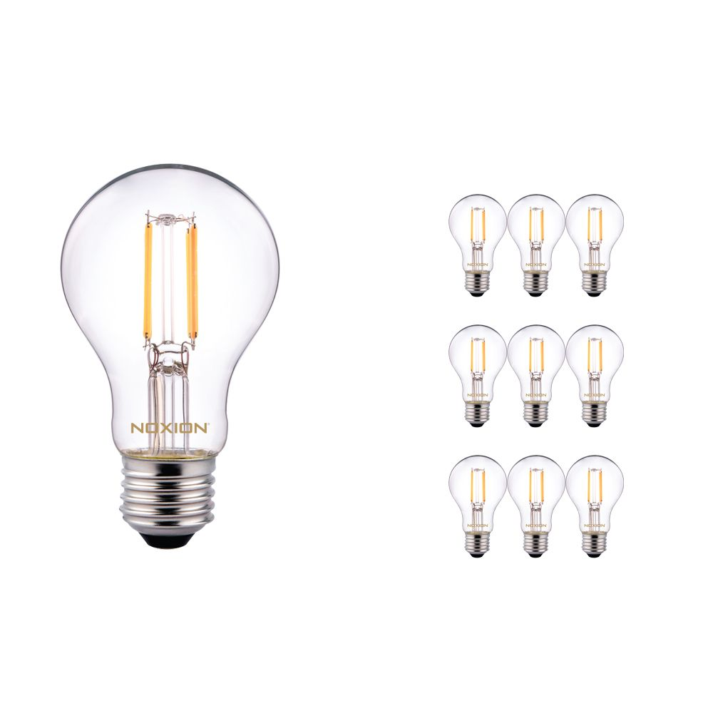 Multipack 10x Noxion Lucent Classic LED con Filamento A60 E27 5W 822-827 Clara | Regulable - Luz muy Cálida - Reemplazo 40W