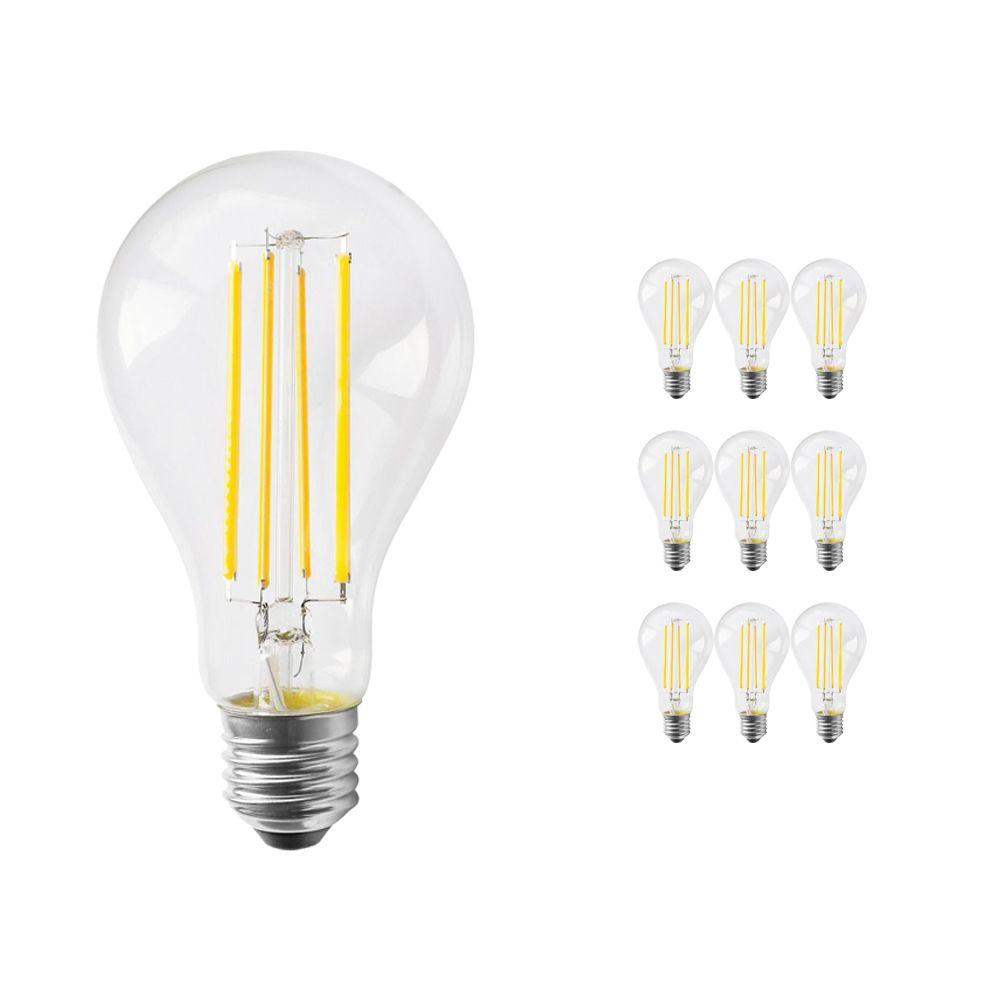 Multipack 10x Noxion Lucent Classic LED con Filamento A70 E27 13W 827 Clara   Regulable - Luz muy Cálida - Reemplazo 100W