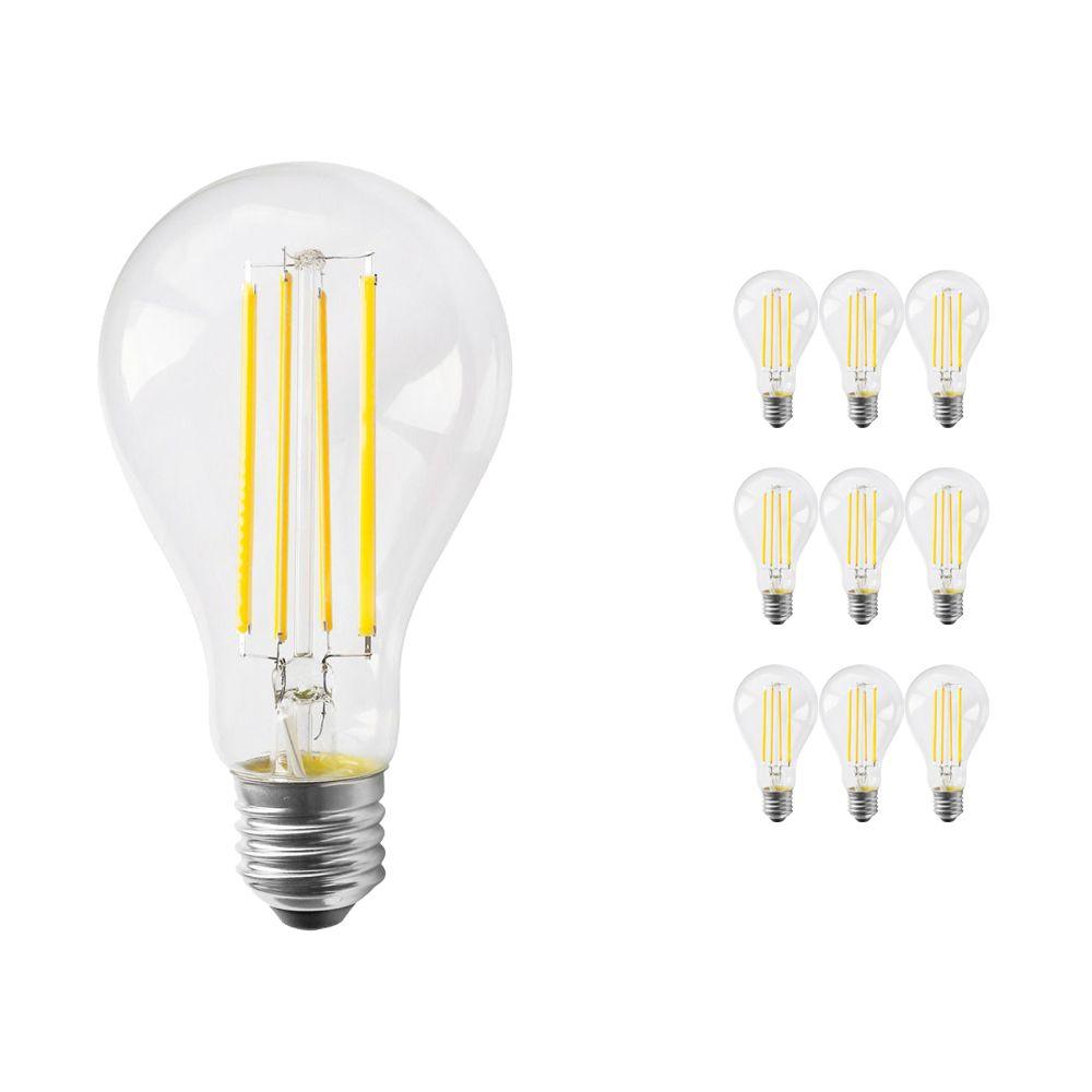 Multipack 10x Noxion Lucent Classic LED con Filamento A70 E27 12W 827 Clara | Luz muy Cálida - Reemplazo 100W