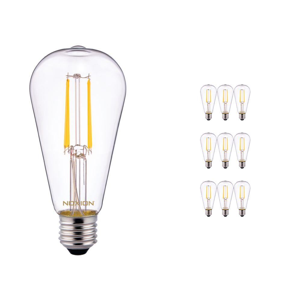 Multipack 10x Noxion Lucent Classic LED con Filamento ST64 E27 4W 827 Clara   Luz muy Cálida - Reemplazo 40W