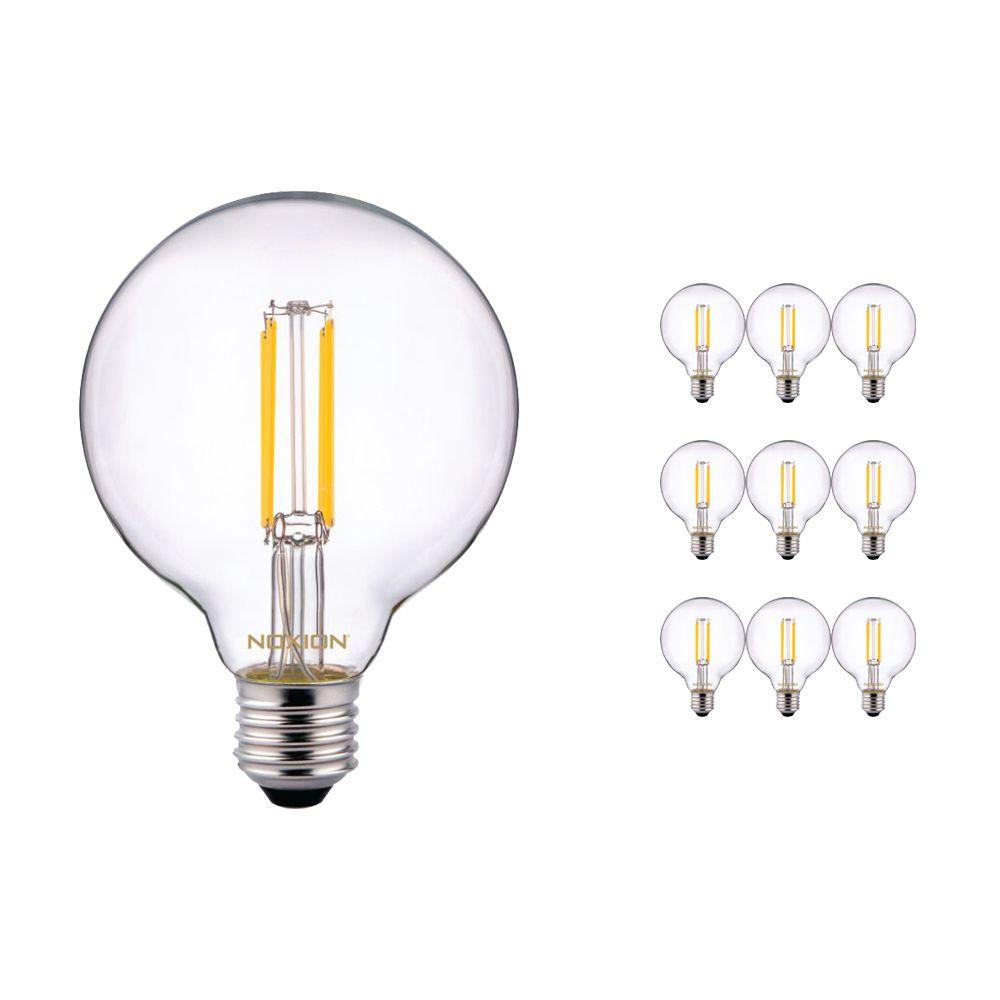 Multipack 10x Noxion PRO LED Globe Classic con Filamento G95 E27 6.5W 827 Clara | Luz muy Cálida - Reemplazo 60W
