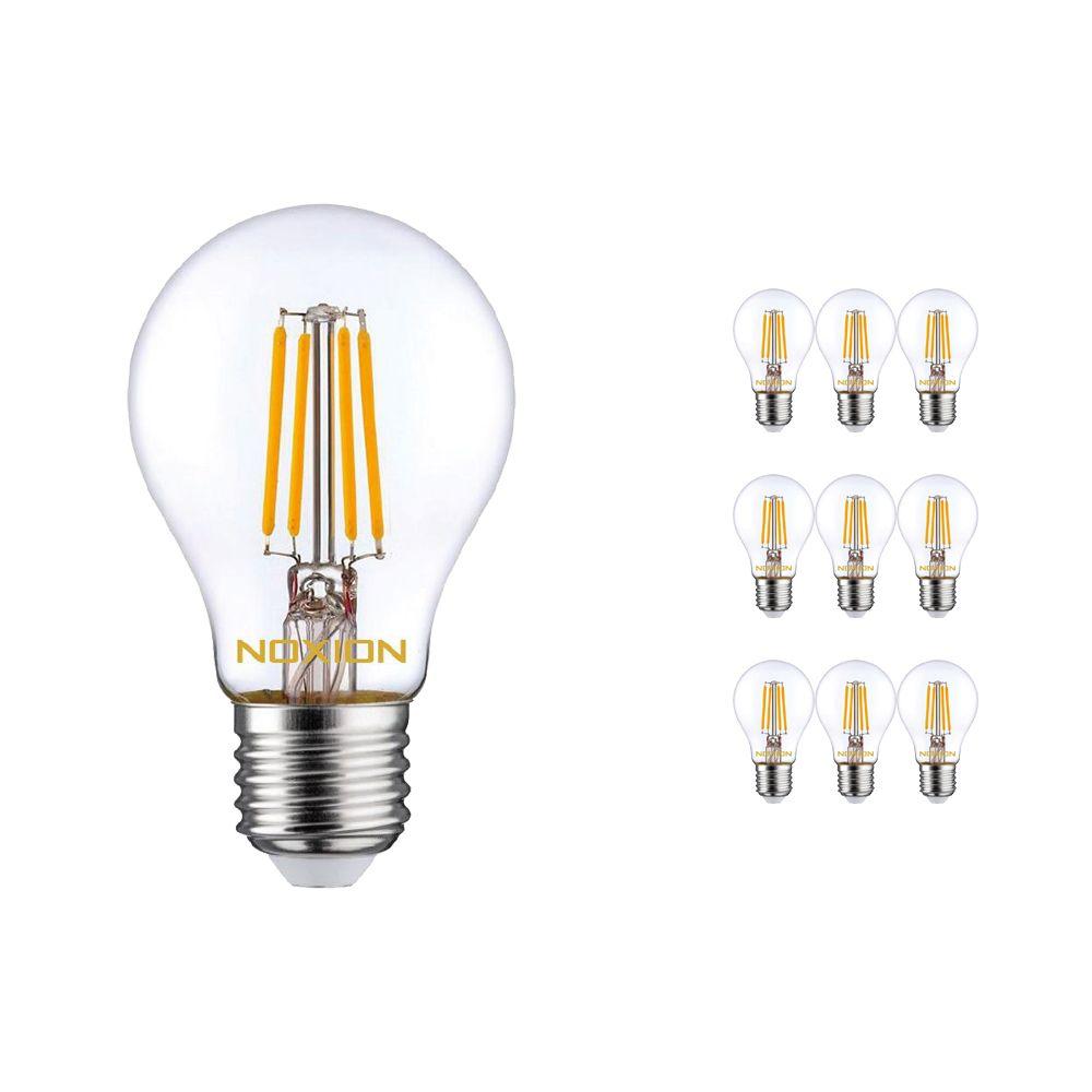 Multipack 10x Noxion Lucent con Filamento LED Bulb 7W 827 A60 E27 Clara | Regulable - Luz muy Cálida - Reemplazo 60W