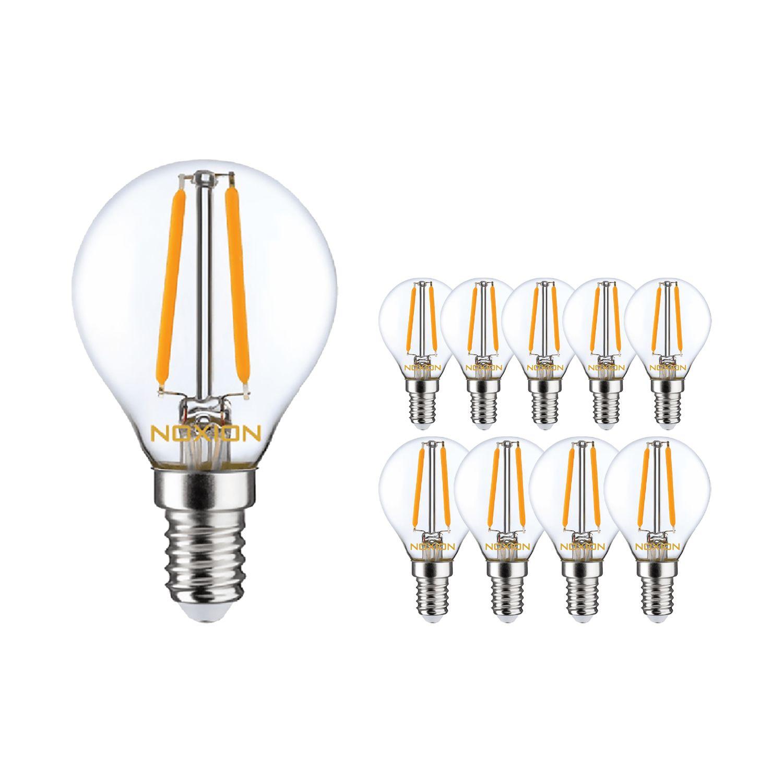 Multipack 10x Noxion Lucent con Filamento LED Lustre 2.5W 827 P45 E14 Clara   Luz muy Cálida - Reemplazo 25W