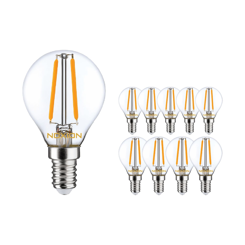 Multipack 10x Noxion Lucent con Filamento LED Lustre 4.5W 827 P45 E14 Clara | Regulable - Luz muy Cálida - Reemplazo 40W