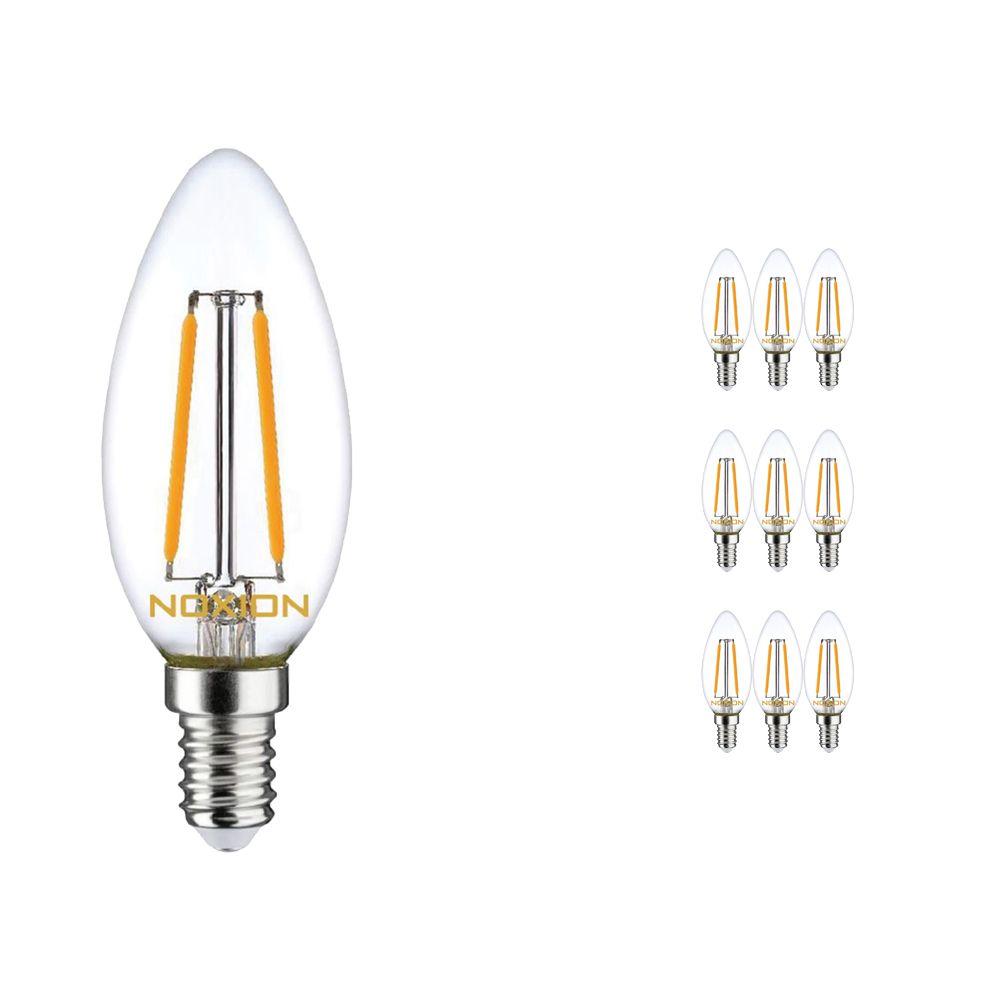 Multipack 10x Noxion Lucent con Filamento LED Vela 2.5W 827 B35 E14 Clara | Luz muy Cálida - Reemplazo 25W