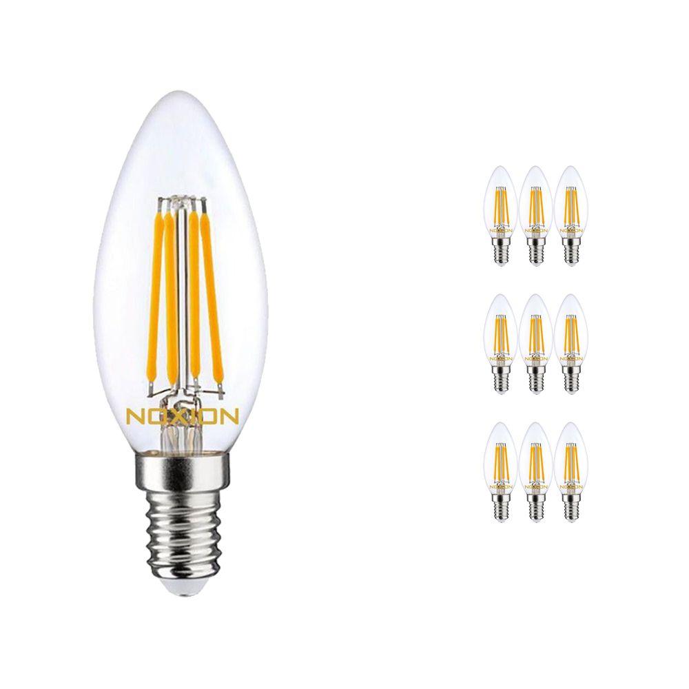 Multipack 10x Noxion Lucent con Filamento LED Vela 4.5W 827 B35 E14 Clara   Regulable - Luz muy Cálida - Reemplazo 40W
