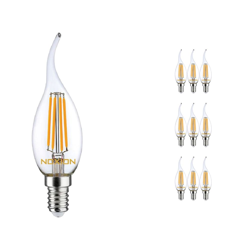 Multipack 10x Noxion Lucent con Filamento LED Vela 4.5W 827 BA35 E14 Clara | Regulable - Luz muy Cálida - Reemplazo 40W