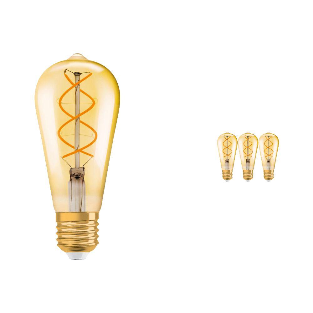 Multipack 4x Osram Vintage 1906 LED E27 Edison 4.5W 820 con Filamento Oro | Regulable - Luz muy Cálida - Reemplazo 25W