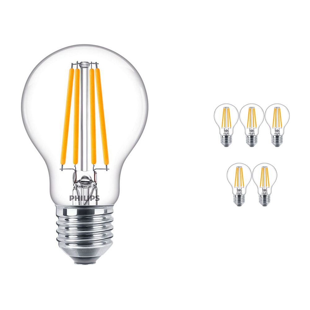 Multipack 6x Philips Clásico LEDbulb E27 A60 10.5 827 con Filamento | Luz muy Cálida - Reemplazo 100W